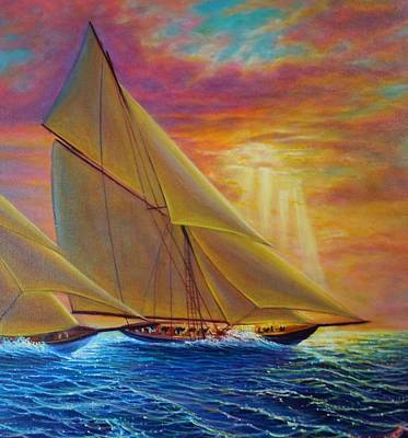 Painting - High Seas Sunset by Joseph   Ruff