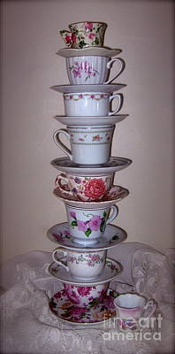 Photograph - High Stack Of Pink Tea Cups  by Nancy Patterson