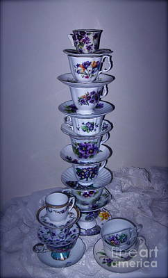 Photograph - High Stack Of Purple Tea Cups  by Nancy Patterson