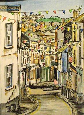 Bunting Mixed Media - High Street Falmouth Cornwall by Jayne Nemeth Scouse