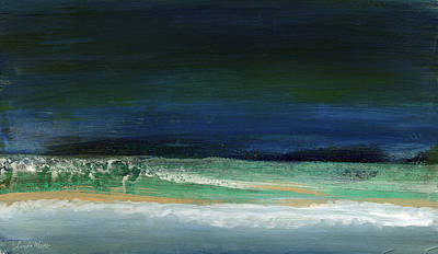Beach Hotel Art Painting - High Tide- Abstract Beachscape Painting by Linda Woods