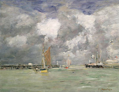 Boat Harbour Wall Art - Painting - High Tide At Trouville by Eugene Louis Boudin