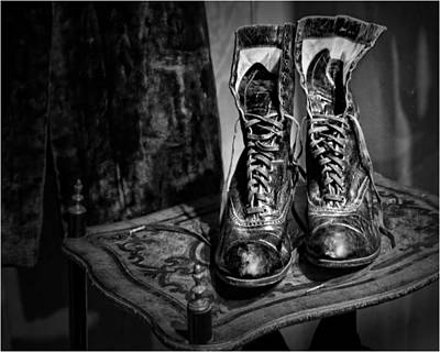 Marquetry Photograph - High Top Shoes - Bw by Nikolyn McDonald