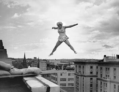 Daring Photograph - High Up Acrobatics by Underwood Archives