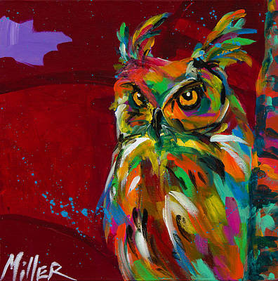 Colorful Eagle Painting - High Up Lookout by Tracy Miller