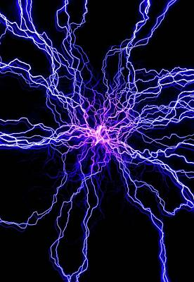 Electric Current Photograph - High Voltage Discharge by David Parker