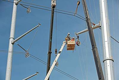 Grid Photograph - High Voltage Power Line Construction by Jim West