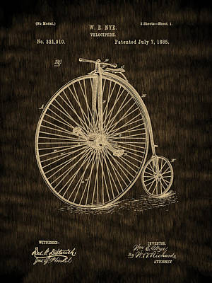 Invention Digital Art - High Wheel Bicycle - 1885 Velocipede Vintage Patent by Barry Jones