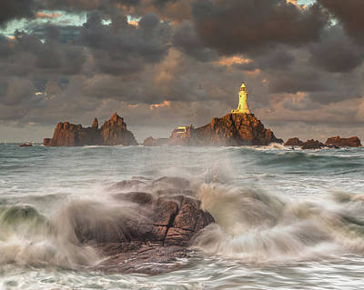 Coastal Photograph - High Winds At La-corbiere Lighthouse by John Starkey