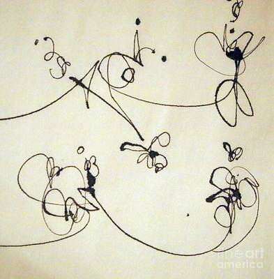Calligraphic Drawing - High Wire Act 3 by Nancy Kane Chapman