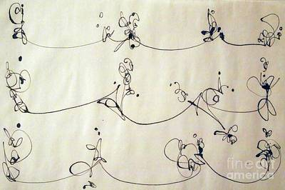 Calligraphic Drawing - High Wire Act by Nancy Kane Chapman