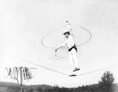 Tightrope Walking Photograph - High Wire Rope Spinner by Underwood Archives