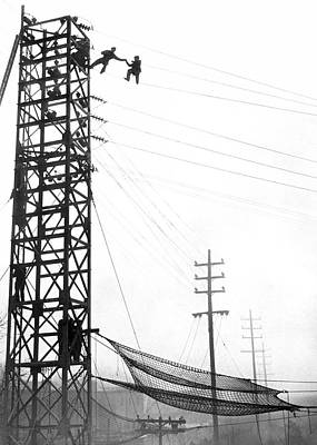 High Wire Suicide Rescue Art Print by Underwood Archives