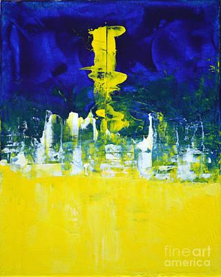 Higher Mind Blue Lemon Yellow Abstract By Chakramoon Art Print by Belinda Capol