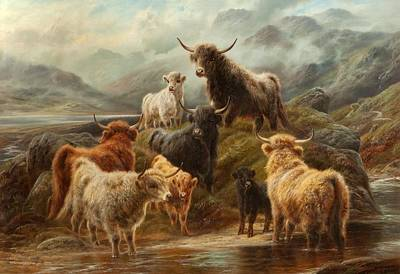 Scottish Highlands Painting - Highland Cattle, 1894 by Robert Watson