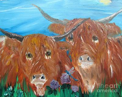 Highland Coos Original by Susan Snow Voidets