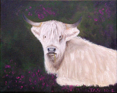 Highland Cow In The Heather Art Print by Janet Greer Sammons
