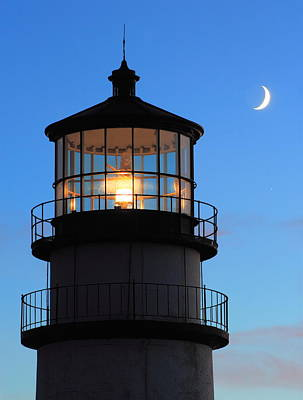 Photograph - Highland Lighthouse And Crescent Moon by John Burk