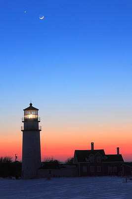 Photograph - Highland Lighthouse And Moon Venus Mars Conjunction by John Burk