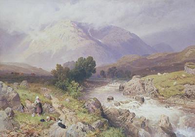 Scottish Dog Painting - Highland Scene Near Dalmally Argyll by Myles Birket Foster