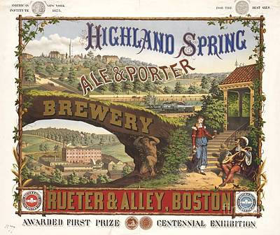 Advertisment Painting - Highland Spring Brewery by Pg Reproductions