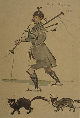 Bagpipe Drawing - Highlander Playing Bagpipes, 1900 by Joseph Crawhall