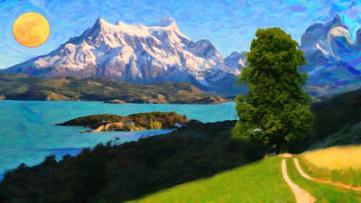 Lago Painting - Highlands Of Chile  Lago Pehoe In Torres Del Paine Chile by MotionAge Designs