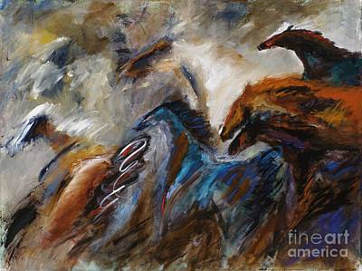 Herd Of Horses Painting - Hightailing It Out Of There by Frances Marino