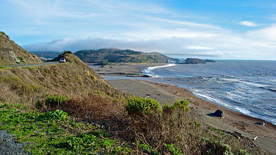 Highway 1 Near Outlet Of Russian River Into Pacific Ocean Near Jenner-ca  Art Print