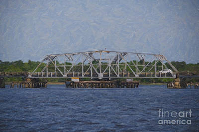 Digital Art - Highway 41 Swing Bridge Over The Wando River by Dale Powell