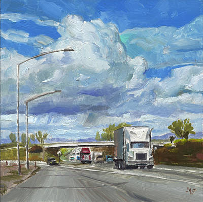 Painting - Highway 5 Trucks by John Norman Stewart