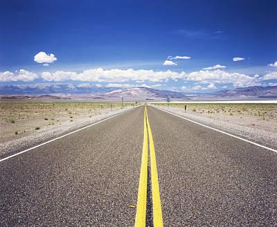 Highway 6 Passing Through A Desert Art Print