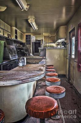 Old Diner Bar Stools Photograph - Highway Diner by Medicine Tree Studios