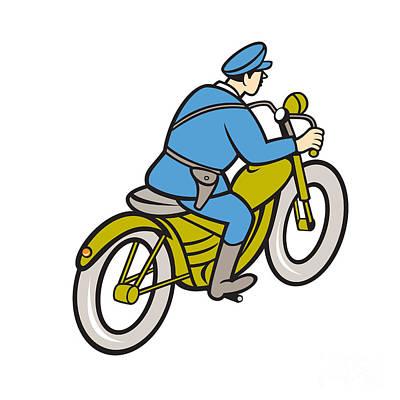 Highway Patrol Policeman Riding Motorbike Cartoon Print by Aloysius Patrimonio