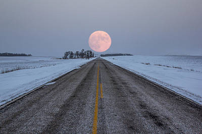 Night Moon Photograph - Highway To The Moon by Aaron J Groen
