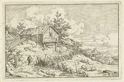Fence Drawing - Hiker At Dilapidated Fence, Allaert Van Everdingen by Allaert Van Everdingen