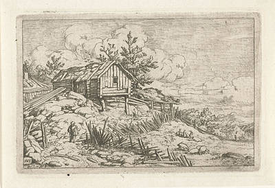 Fence Drawing - Hiker At Dilapidated Fence, Allaert Van Everdingen by Quint Lox