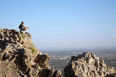 Contemplating Photograph - Hiker Meditating by Jim West