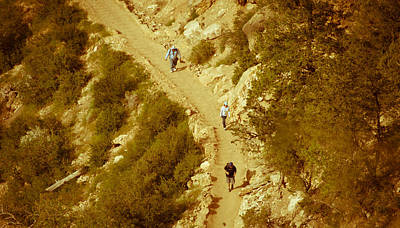 Hikers In Canyon Art Print by Nickaleen Neff
