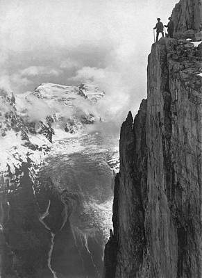 Enterprise Photograph - Hikers In The Alps by Underwood Archives