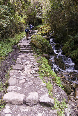 Hikers On Inca Trail Peru Print by William H. Mullins