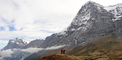 Eiger Photograph - Hikers Standing On A Hill, Mt Eiger by Panoramic Images