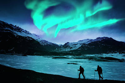 Photograph - Hikers Under The Northern Lights by Powerofforever