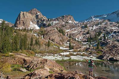 Sundial Photograph - Hiking At Lake Lillian, Sundial Peak by Howie Garber