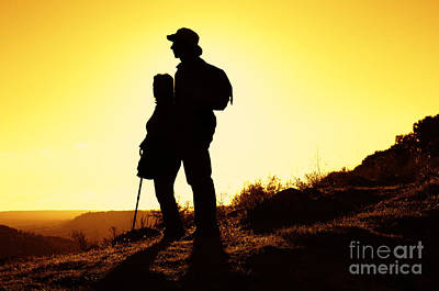 Hiking Couple Art Print by Carlos Caetano