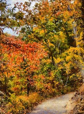 Fall Foliage Mixed Media - Hiking In Autumn by Dan Sproul