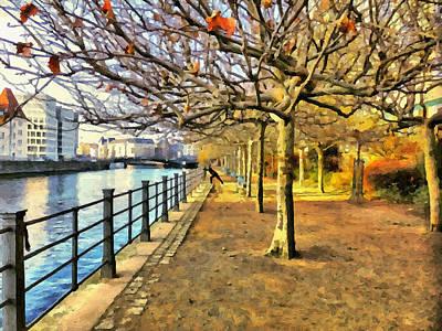 River Spree Painting - Jogging At Spree Riverside by Ralph van Och