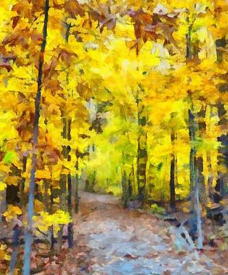Hiking The Autumn Forest Art Print