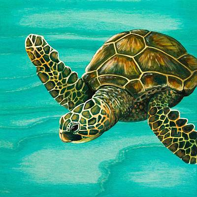 Honu Painting - Hilahila Shy Sea Turtle by Emily Brantley