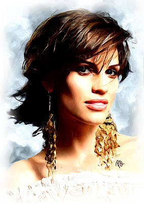 Swank Painting - Hilary Swank by Paul Quarry
